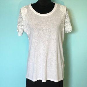 NYDJ White Linen Lace Sleeve Tee